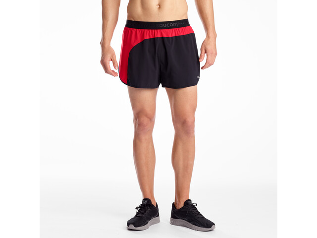 "saucony Split Second 2,5"" Pantalones Cortos Hombre, black/saucony red"